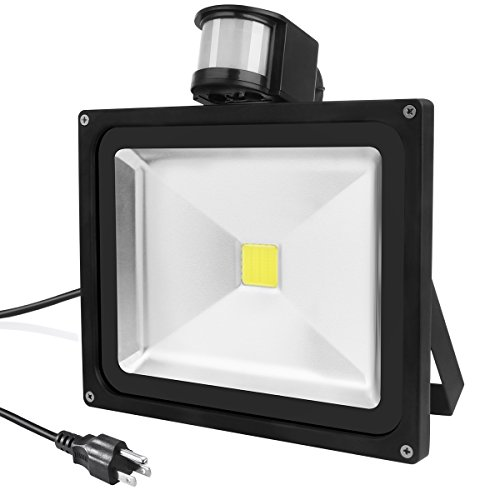 Warmoon LED Motion Sensor Flood Light, 30W Daylight White