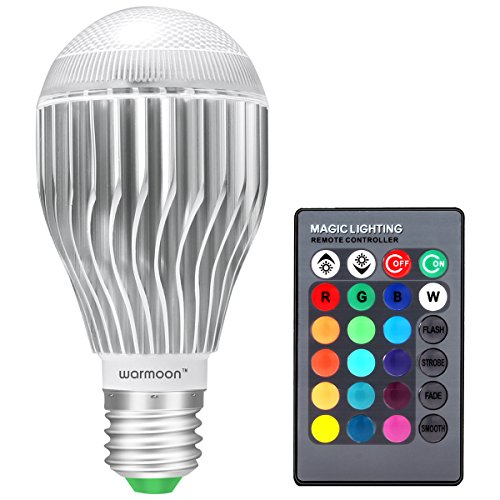 Warmoon E26 LED Light Bulb, 10W RGB Color Changing