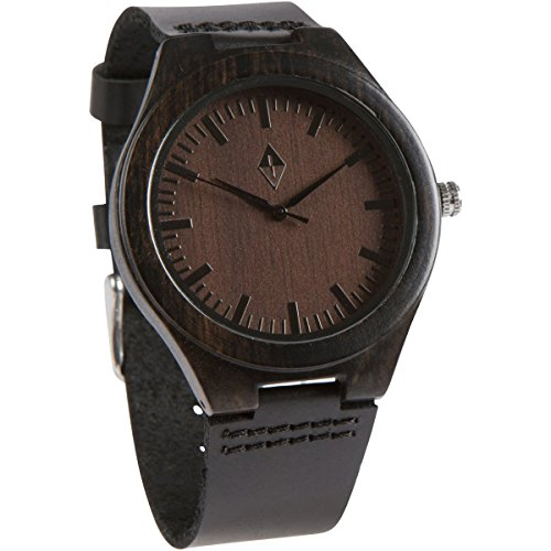 Wood Grain Handmade Mens Black Sandalwood Natural Wooden Watch