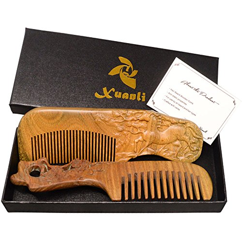 Xuanli® 2Pcs SandalWood Comb Hair Brush Care Anti Static