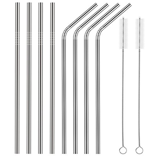 Set of 8 Stainless Steel Straws FDA-Approved Ultra Long