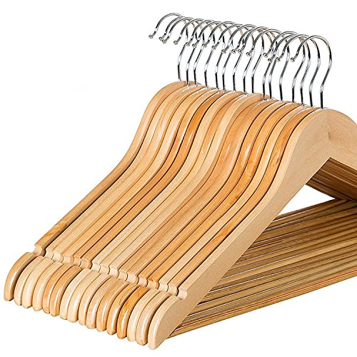 Zober Solid Wood Suit Hangers with Non Slip Bar
