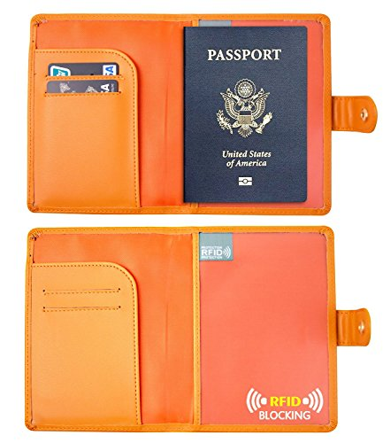 RFID Blocking Leather Passport Holder  Travel Wallet Id