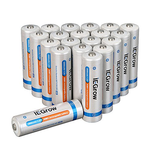 iEGrow AA Ni-MH Rechargeable Batteries 2800mAh (20-pack)