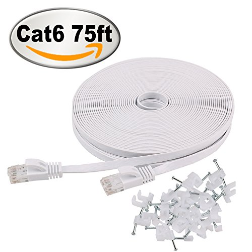 Jadaol Cat6 Ethernet cable Flat 75 ft with Cable