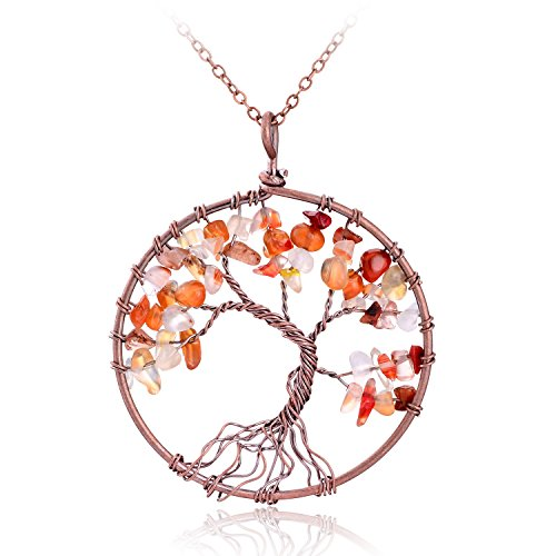 Handmade Red Agate Pendant Tree of life Multicolor Crystal