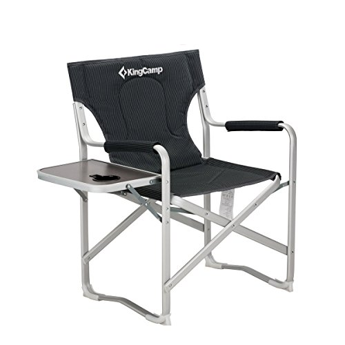 Get A Free KingCamp Director Chair Folding Aluminum Padding Portable Heavy Duty Comfort Sturdy Reclining with Armrest Side Table and Cup Holder for Camping