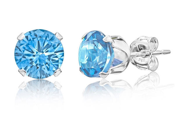 Get A Free Sterling Silver Round Blue Topaz Earring Set!