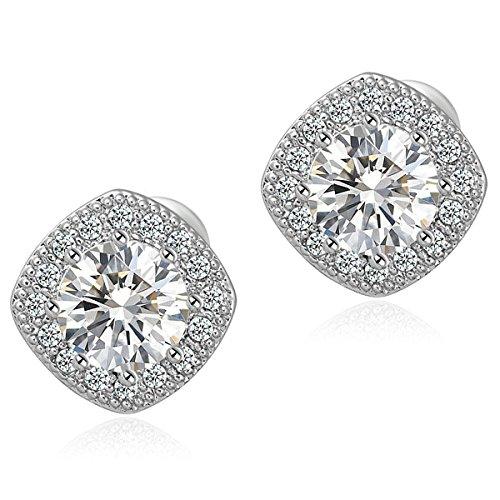 18K White Gold Plated Square Shape Stud Earrings Cz