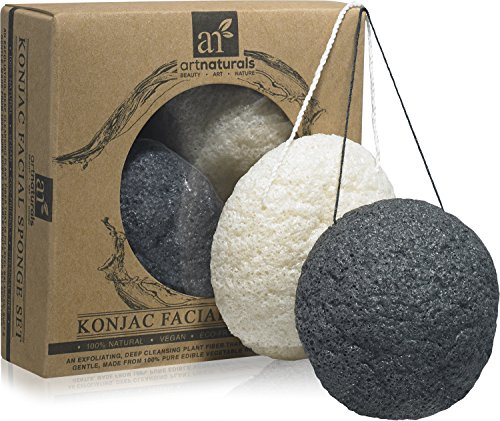 ArtNaturals Konjac Facial Sponge Set, Oily and Acne Prone