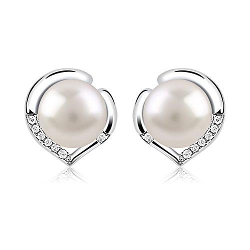 B.Catcher Silver Pearl Earrings 925 Sterling Silver Freshwater 10mm