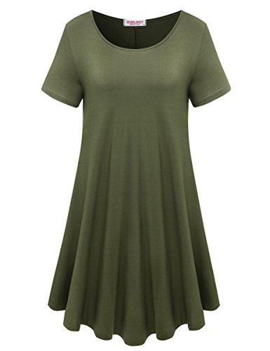 BELAROI Womens Comfy Swing Tunic Short Sleeve Solid T-shirt