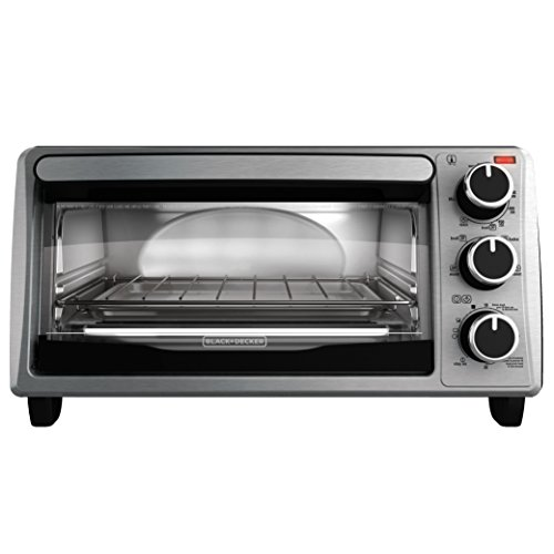 BLACK+DECKER TO1303SB 4-Slice Toaster Oven, Includes Bake Pan, Broil