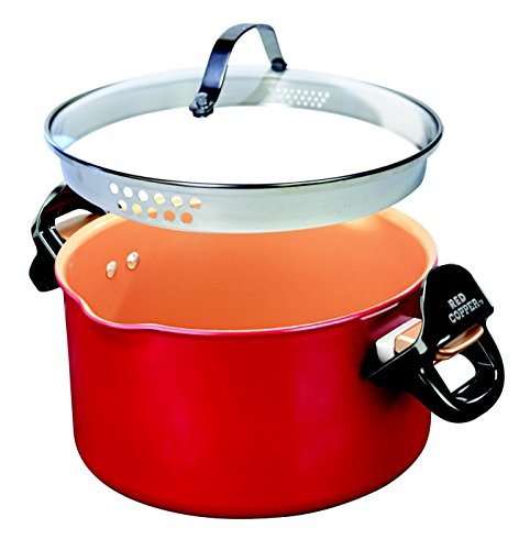 Red Copper Better Pasta Pot by BulbHead, Locking Handles