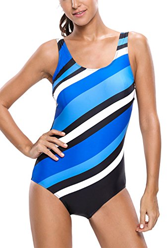 Dokotoo Womens Stripes Color Block One Piece Bathing Suit
