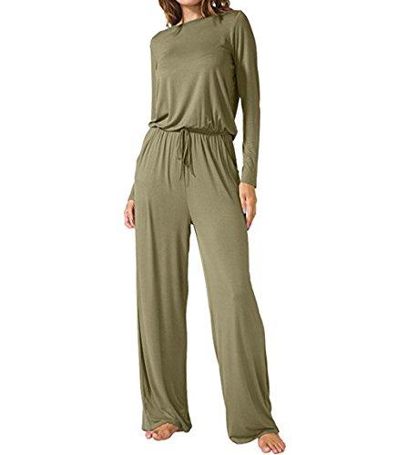 Womens Loose Casual Pockets Jumper Scoop Wide Legs Long