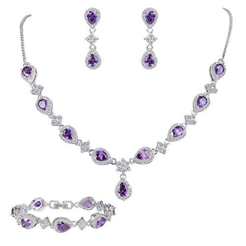 EleQueen Women\'s Silver-tone Cubic Zirconia Teardrop Flower Bridal V-Necklace