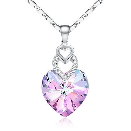 Women Birthday Heart Pendant Necklace with Crystal from Swarovski
