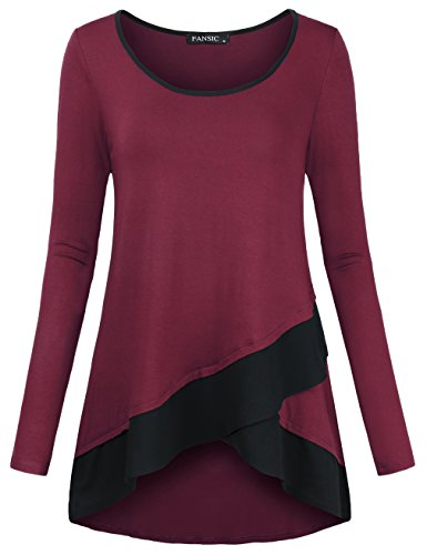 Tunic Tops for Leggings,FANSIC Long Sleeve Scoop Neck Layered