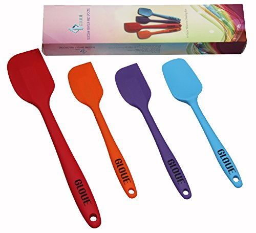 GLOUE Silicone Spatula Set - 4-piece 450oF Heat-Resistant Baking