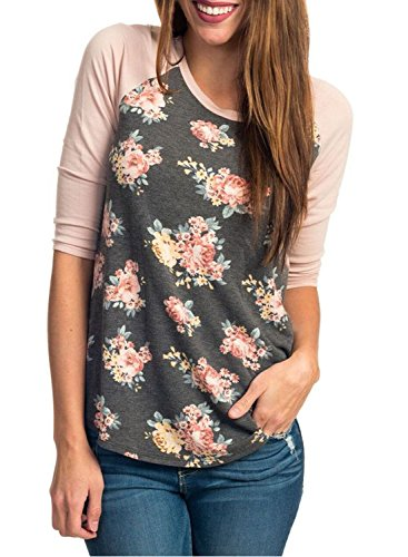 HOTAPEI Women Casual Floral Print 3 4 Sleeve Crew