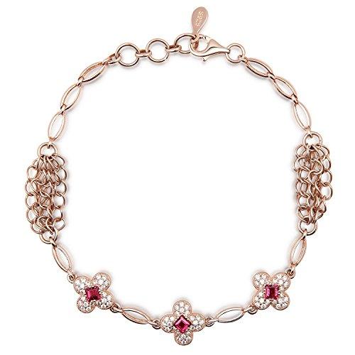 Sterling Silver and Gemstone Natural Garnet Bracelet