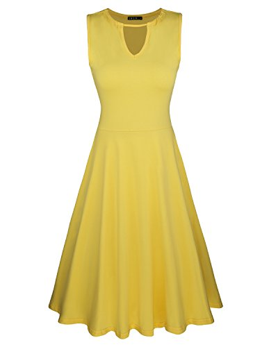 ININ Women\'s Sleeveless Casual Keyhole Neck Cocktail Party Dress(Yellow,XXL)