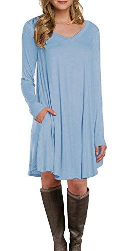 LILBETTER Women\'s Long Sleeve Pocket Casual Loose T-Shirt Dress