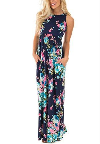 LiMiCao Summer Boho Floral Print Dress Maxi Long Casual