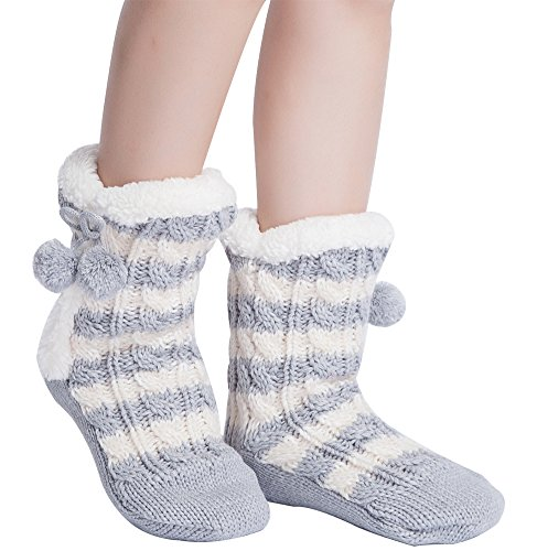 MaaMgic Womens Crazy Christmas Fuzzy Slipper Socks Warm Funny