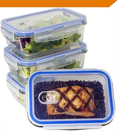 [Premium 4 Sets] Glass Meal Prep Food Storage Container