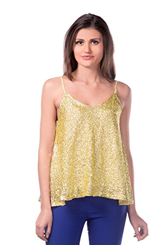 Miss Chase Women\'s Gold V Neck Sleeveless Sequined Top,Gold,Small