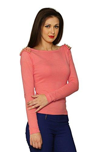 Miss Chase Women\'s Orange Cotton Round Neck Long Sleeve