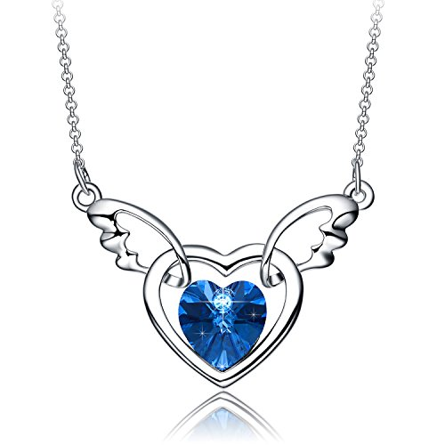 Christmas Gifts for Women NEEMODA Blue Crystal Heart Necklace