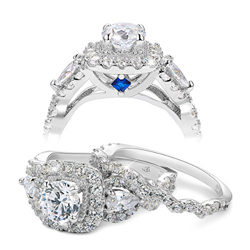 Newshe 2.4ct Round Pear White Cz 925 Sterling Silver