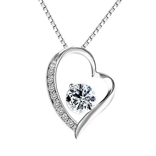 Pealrich 925 Sterling Silver Forever Love Heart Diamond Pendant