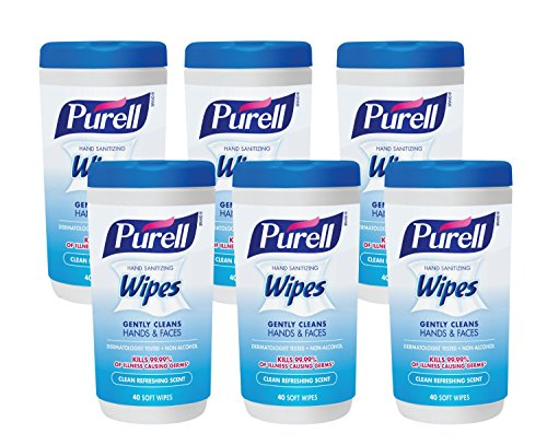 Purell 9120-06-CMR Hand Sanitizing Wipes, Clean Refreshing Scent, 40
