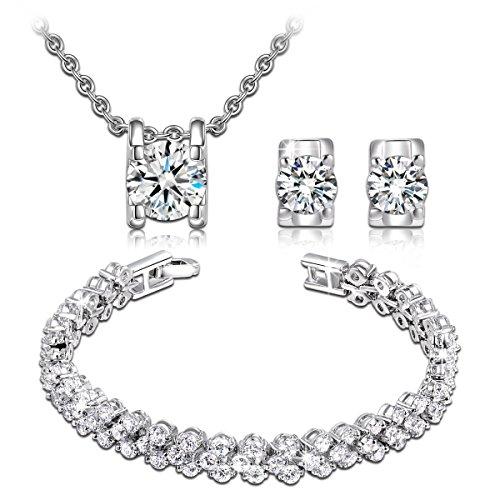 QIANSE Snow Queen Necklace Stud Earrings Link Bracelet Fashion