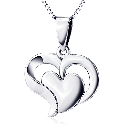 925 Sterling Silver Jewelry Double Heart Pendant Necklace for