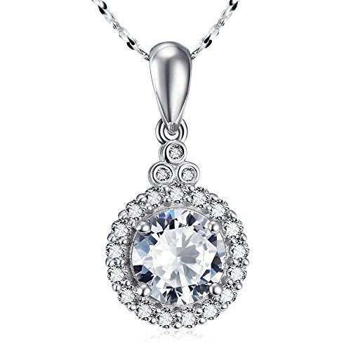 Sterling Silver Round Cut Cubic Zirconia Halo Pendant Necklace