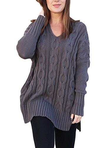 Sidefeel Women Casual V Neck Loose Fit Knit Sweater