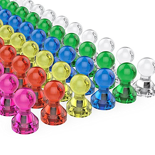 Tiergrade Push Pin Magnets, 60 Pack Assorted Color Strong