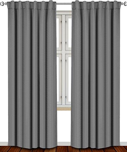 Blackout Room Darkening Curtains Window Panel Drapes Grey –