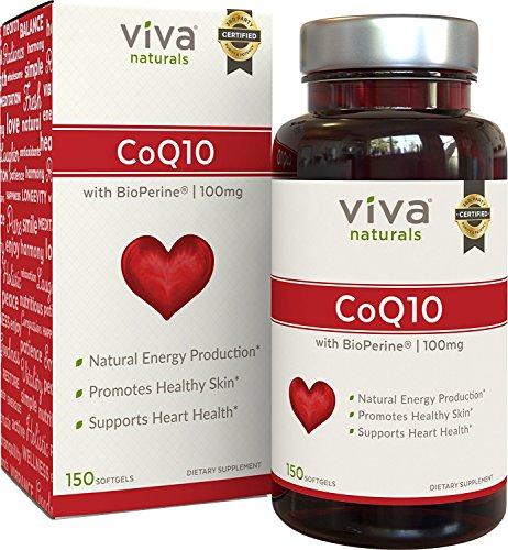Viva Naturals CoQ10 100mg, 150 Softgels - Enhanced with