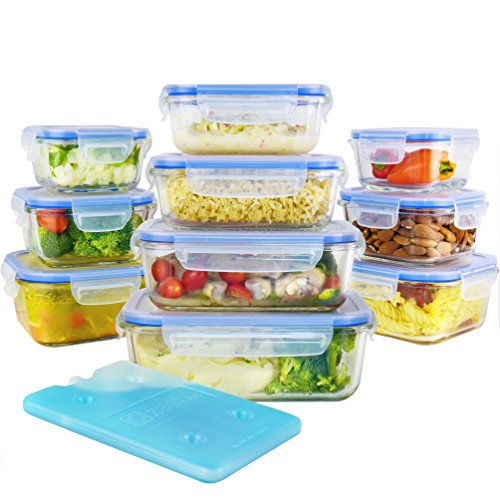 Zestkit 20 Pieces Glass Food Storage Containers Set with
