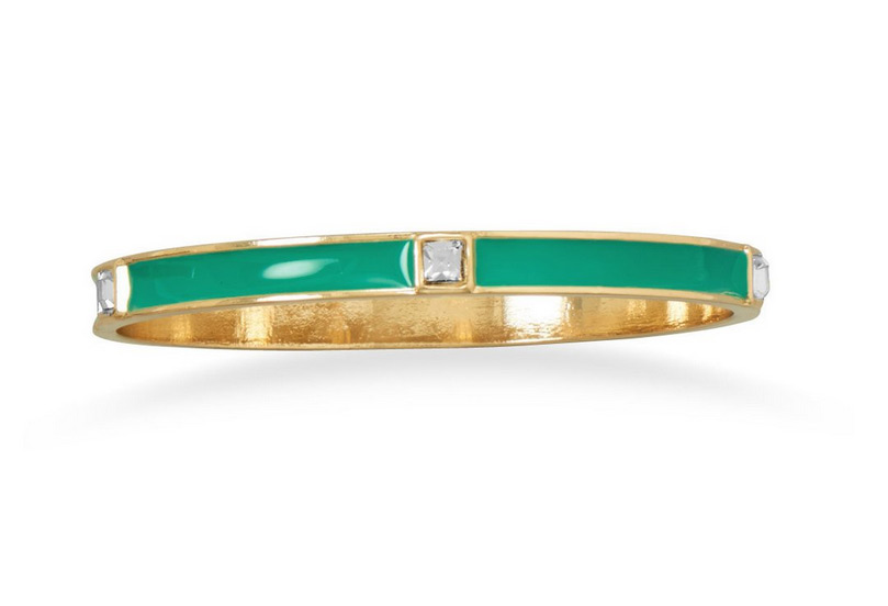 Get A Free Teal Enamel Bracelet With Crystal From Crown Jewelry!
