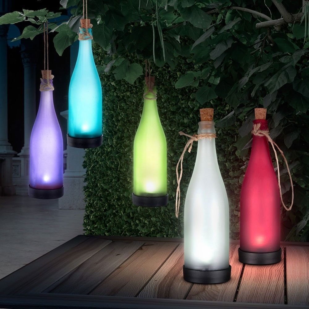 Get A FREE - LED Solar Hanging Garden Bottle Light - With Auto On Feature!