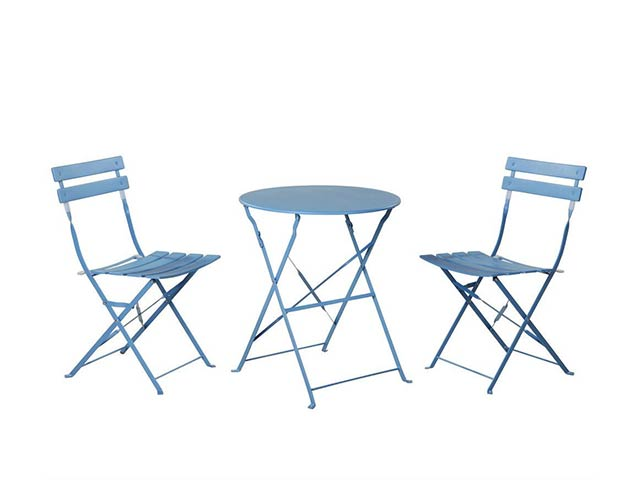 Get A Free Grand patio Outdoor Balcony Folding Steel Bistro Furniture Sets, Foldable Table and Chairs, Blue