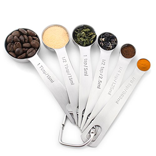 1Easylife 18/8 Stainless Steel Measuring Spoons, Set of 6