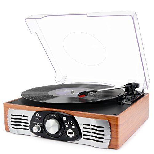 1byone Belt-Drive 3-Speed Stereo Turntable with Built in Speakers